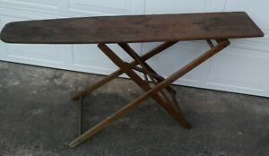 Antique Folding Adjustable Primitive Wood Ironing Board