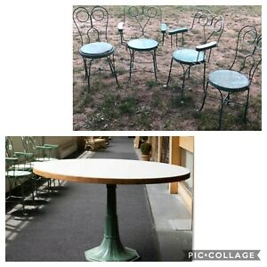 4 Vintage Ice Cream Parlor Chairs Table Set Green Paint Twisted Iron Metal 19t