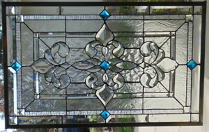 Stained Glass Window Hanging 32 1 2 X 21 Brass Frame