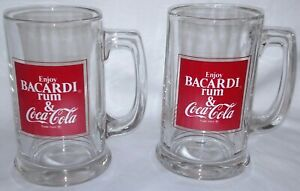 Set of 2 vintage Bacardi Rum & Coke Coca-Cola glass mugs 1978 NOS new 5-1/2