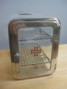 Vintage Antiseptic Medical Barber Sanitary Sterilizer Glass Metal Case Cabinet