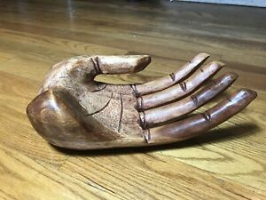 Carved Wooden Hand Sculpture Of Large Human Hand Solid Wood Rare