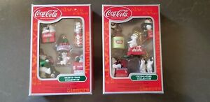 Coca Cola Christmas trim a tree ornament collection set polar bear penguins gift