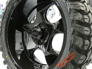 22 X10 Black Offroad Wheels Mud Tires 33 Package 8x180 Chevrolet Chevy New 2500