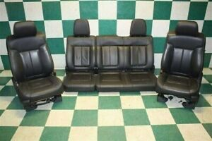 09 14 F150 Fx4 Crew Black Leather Heated Power Front Sports Seats Rear Bench Set