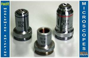Achromatic Student Microscope Objectives 4x 10x 40x Ideal For Old Scopes