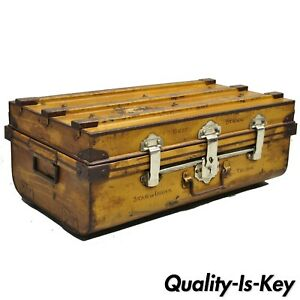 Antique English Steel Metal Painted Ships Trunk Treasure Chest Star Of India