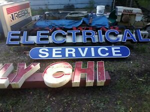Commercial Plumbing Electrical Service Sign Lighted Two Pieces 23 Feet 10 5 In