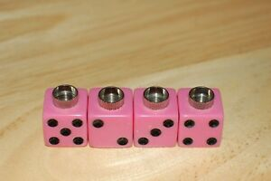 Dudds Dice Pink W Black Dots Valve Stem Caps 4 Pack Fits Ford Chevy 21
