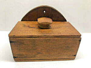Old Primitive Wooden Wall Hanging Antique Salt Box With Lid