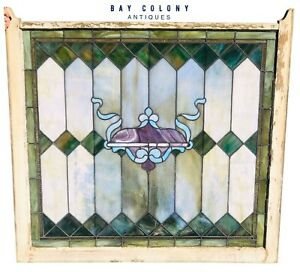 19th C Antique Victorian Architectural Stained Glass Window