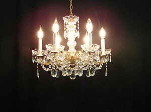 Vintage Maria Theresa Glass Crystals 6 Lights Chandelier