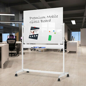 Zhidian Glass Whiteboard With Stand 48x36 Inches Magnetic Mobile Glass Board