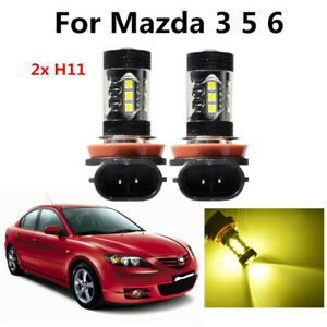 2x Auto Fog Lights Car H11 H8 Led Bulbs 3000k Golden Yellow Drl For Mazda 3 5 6