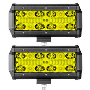 2x 7inch 3000k Led Fog Pods Work Light Bar Combo Driving Yellow Offroad Wiring