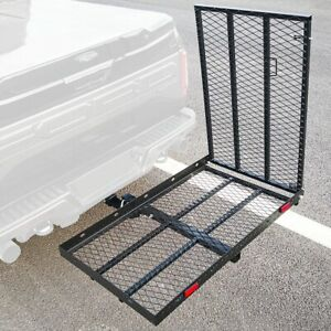 500 Lbs Heavy Duty Hitch Mount Cargo Carrier Suv Folding Luggage Rack With Ramp
