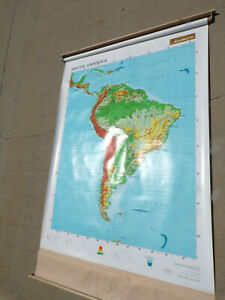 Pull Down Map Used South America Roll Up Rand Mark Iii Continent Geography Aid