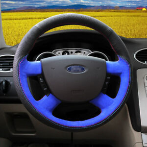 For Ford Focus Sport Blue Suede hole Leather Hand Sewing Steering Wheel Cover