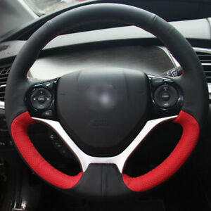 Black Red Leather Diy Steering Wheel Cover For Honda Civic 9th 2012 15
