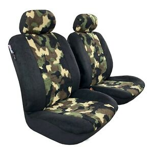 Front Seat Cover Camo Sheepskin Velour Car Seat Covers For Toyota Tacoma 1999 On