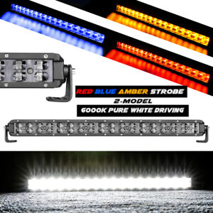 20 Led Strobe Light Bar Red Blue Amber Emergency Beacon Warn Off Road Truck 18