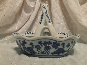 Antique Porcelain Blue And White Chinese Fish Bowl