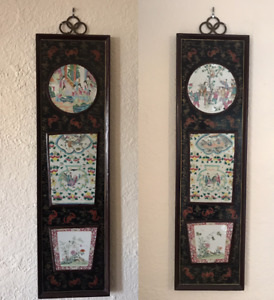 Pair Chinese Lacquer And Porcelain Wall Panels Late 19th Century