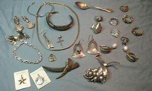 Sterling Silver 925 Signed Jewelry Lot Scrap Or Use 204 Grams