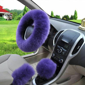 Universal Winter Soft Wool Plush Fuzzy Auto Purple Car Steering Wheel Cover 15