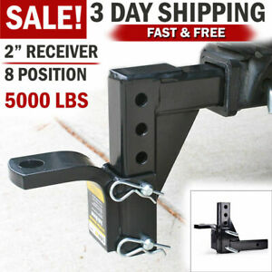Drop Adjustable Dual Ball Mount Trailer Hitch Tow Receiver Towing System For Car
