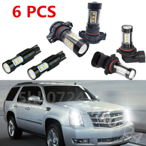 6x Combo White Led Lights Fog Driving Drl Bulbs For 2007 2014 Cadillac Escalade