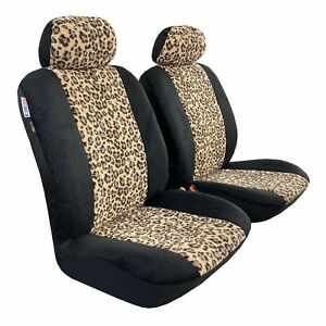 Front Seat Cover Leopard Sheepskin Velour Car Seat Covers For Toyota Camry