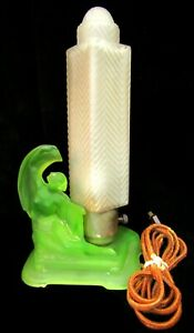 Art Deco Table Lamp Green Uranium Glass Nude Angel Base W Frosted Skyscraper