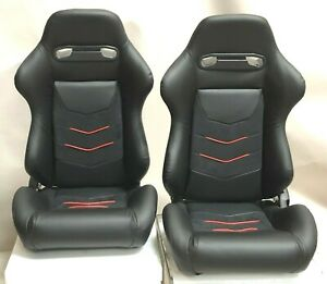 Cipher Black Leatherette W red Piping microsuede Universal Racing Seats Pair