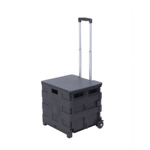 2 Wheels Rolling Utility Cart Weight 80lb Load Capacity Folding Portable Black