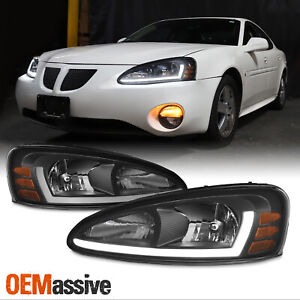 For 04 08 Pontiac Grand Prix Led Tube Drl Black Headlights W Corner Lights