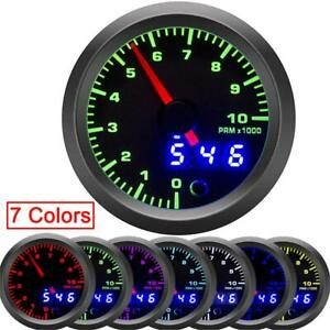 2 52mm Car Tachometer Gauge Digital Pointer Led 0 10000 Rpm Speed Meter 7 Color