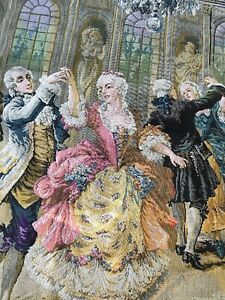 Large Size Antique Tapestry Beautiful Victorian Scene Of A Dance And Musicians