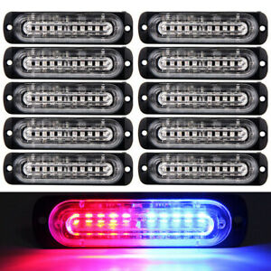 10x Red blue 10 Led Car Truck Emergency Beacon Warning Hazard Flash Strobe