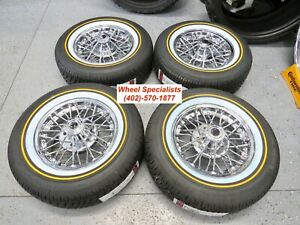 15 Inch Cadillac 30 Spoke Mclean Front Wheel Drive Chrome Wire Wheels Set 4 New