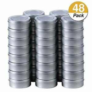 2 Ounce Metal Tin Cans Round Empty Container Cans With Clear Top For 48