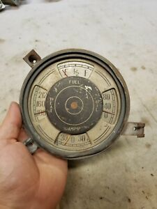 1938 Plymouth Gauge Cluster Oil Pressure Fuel Temperature Amps Temp Ammeter Gas