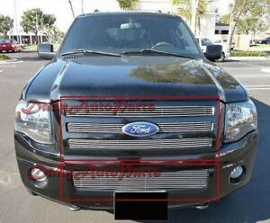 Fits 07 14 Ford Expedition Aluminum Billet Grills Grille Insert Combo Upper Lowe