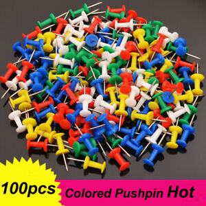 100 Pcs Push Pin Pins Thumb Tack Multi Color Head For Office School Home Safety