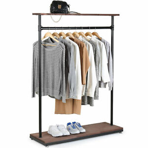 60 inch Rustic Industrial Wood Pipe Design Coat Rack Garment Display Stand