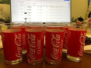 8 VINTAGE  Coca Cola Classic Original Formula Drinking Glasses Red w/White  EUC