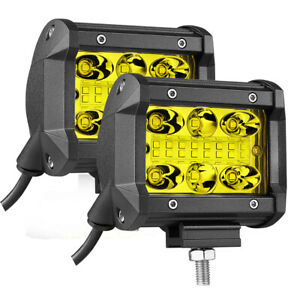 2x 4 3000k Yellow Led Fog Pods Light Bar Combo Offraod Driving Wiring Harness