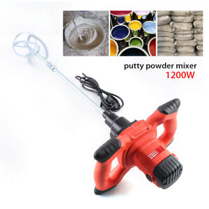 110v Electric Mortar Mixer Dual High Low Gear 6 Speed Paint Cement Grout 1200w