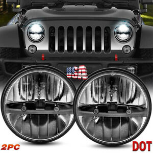 7 Inch Round Led Headlights Sealed Beam For Jeep Wrangler Lj Cj Jk Tj Jku 97 17