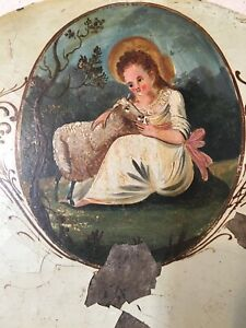 Mid 1800 S Lil Bo Peep Sheep Hand Painted Grandfather Clock Dial